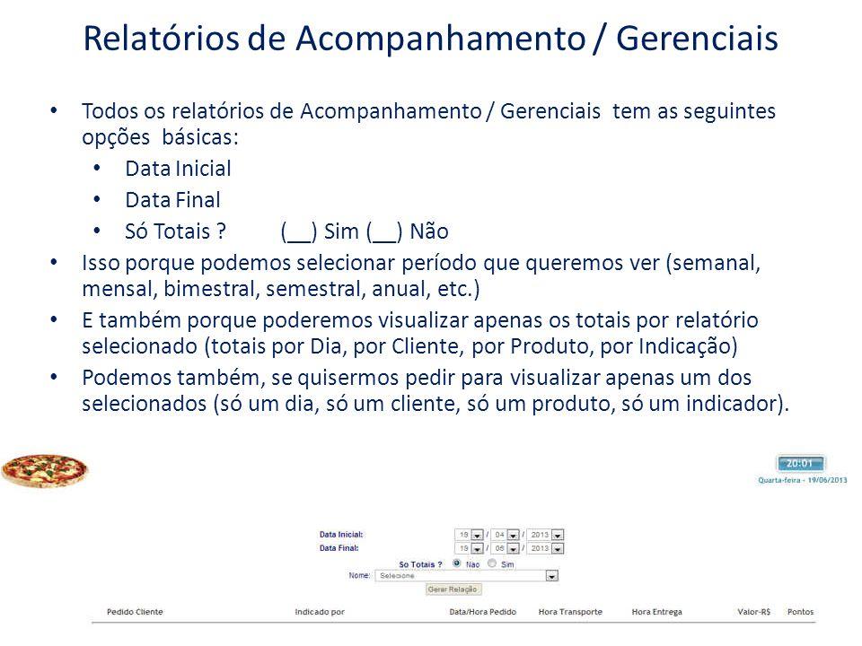 Relatórios de Acompanhamento / Gerenciais Todos os relatórios de Acompanhamento / Gerenciais tem as seguintes opções básicas: Data Inicial Data Final