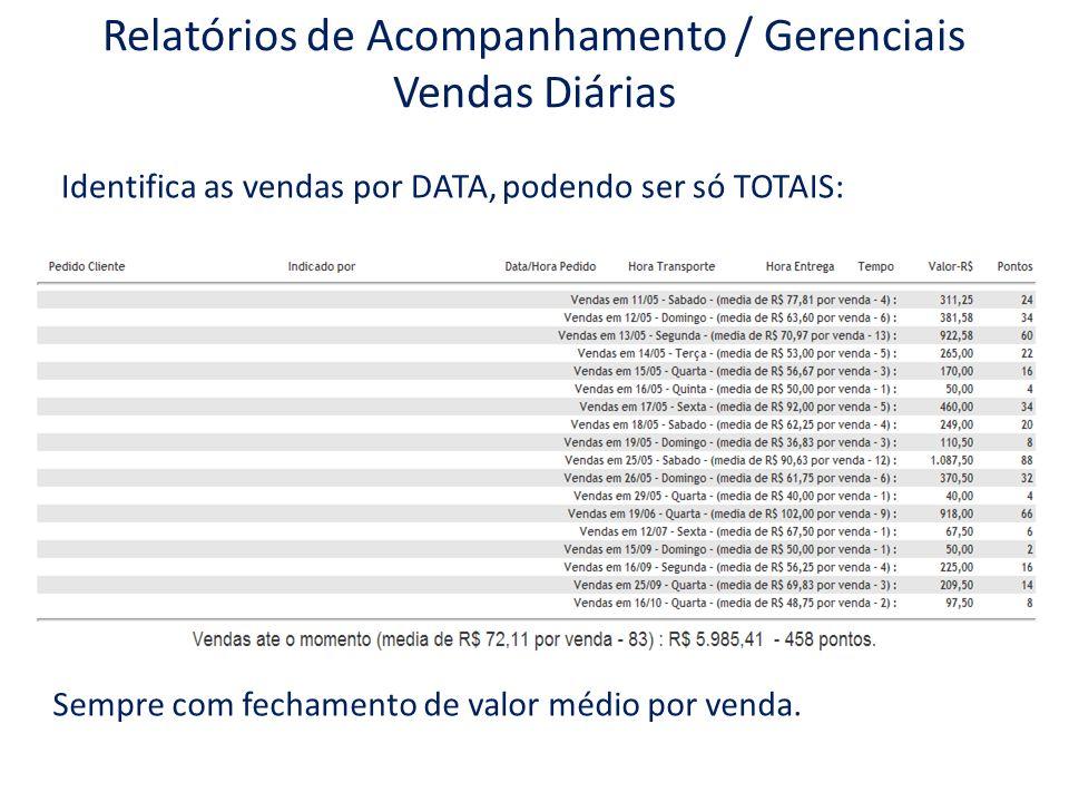 Relatórios de Acompanhamento / Gerenciais Vendas Diárias Identifica as vendas por DATA, podendo ser só TOTAIS: Sempre com fechamento de valor médio po
