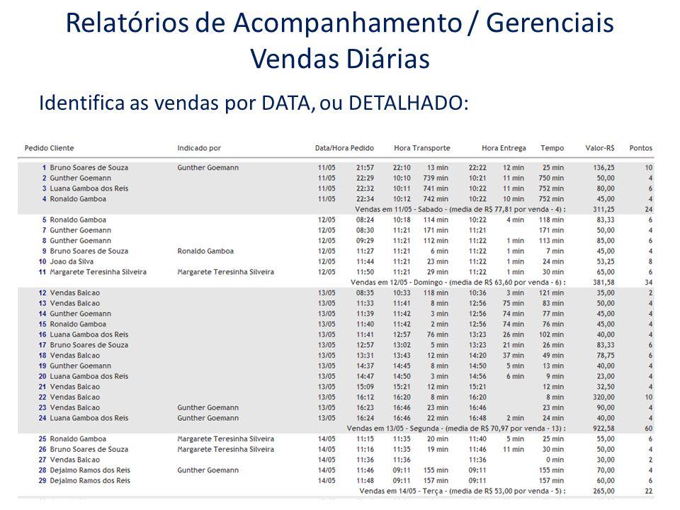 Relatórios de Acompanhamento / Gerenciais Vendas Diárias Identifica as vendas por DATA, ou DETALHADO: