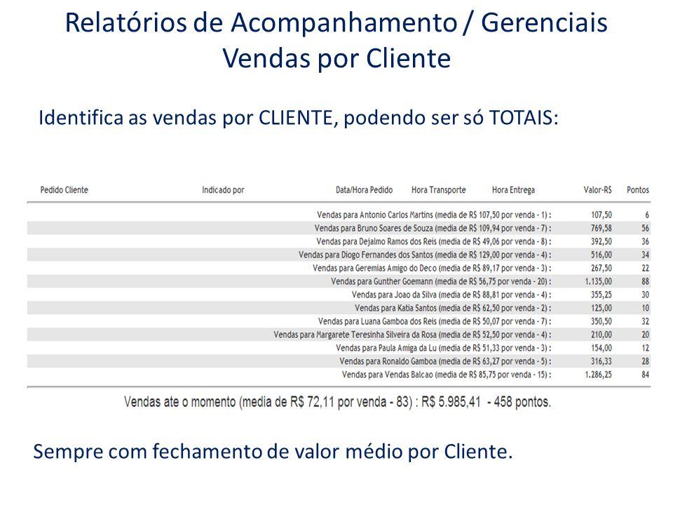 Relatórios de Acompanhamento / Gerenciais Vendas por Cliente Identifica as vendas por CLIENTE, podendo ser só TOTAIS: Sempre com fechamento de valor m