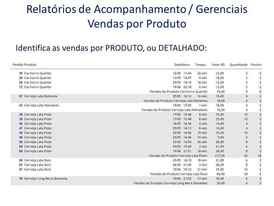 Identifica as vendas por PRODUTO, ou DETALHADO: