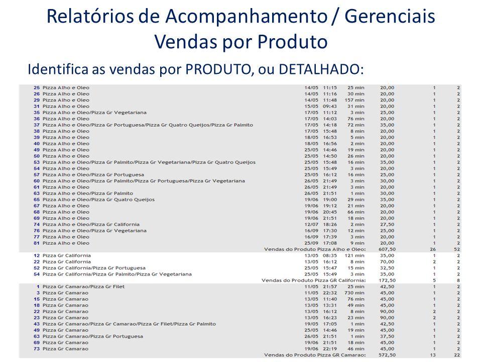 Relatórios de Acompanhamento / Gerenciais Vendas por Produto Identifica as vendas por PRODUTO, ou DETALHADO: