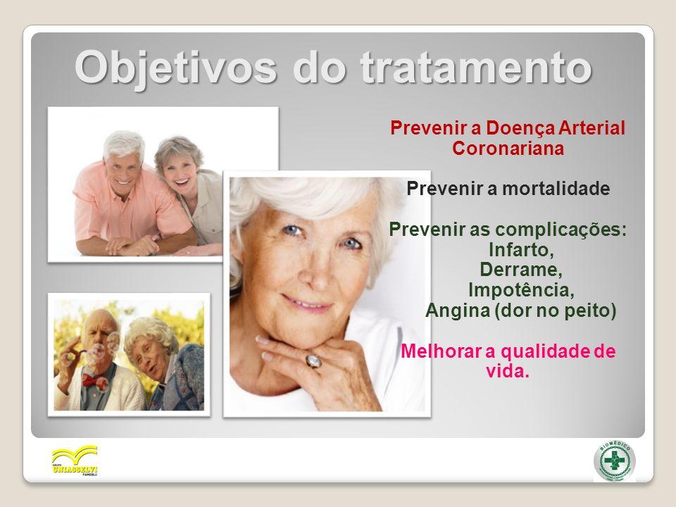 Objetivos do tratamento Prevenir a Doença Arterial Coronariana Prevenir a mortalidade Prevenir as complicações: Infarto, Derrame, Impotência, Angina (