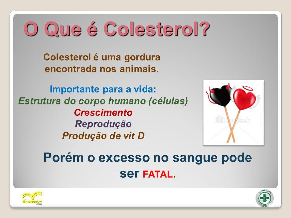 Colesterol é uma gordura encontrada nos animais. O Que é Colesterol? Importante para a vida: Estrutura do corpo humano (células) Crescimento Reproduçã