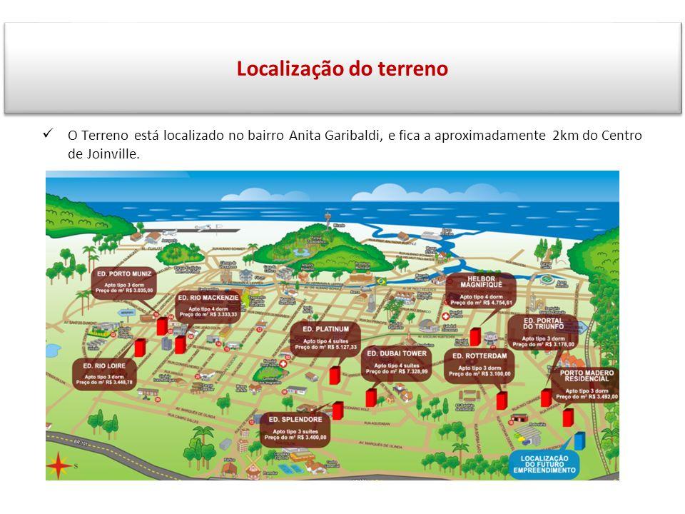 S O Terreno está localizado no bairro Anita Garibaldi, e fica a aproximadamente 2km do Centro de Joinville. Localização do terreno