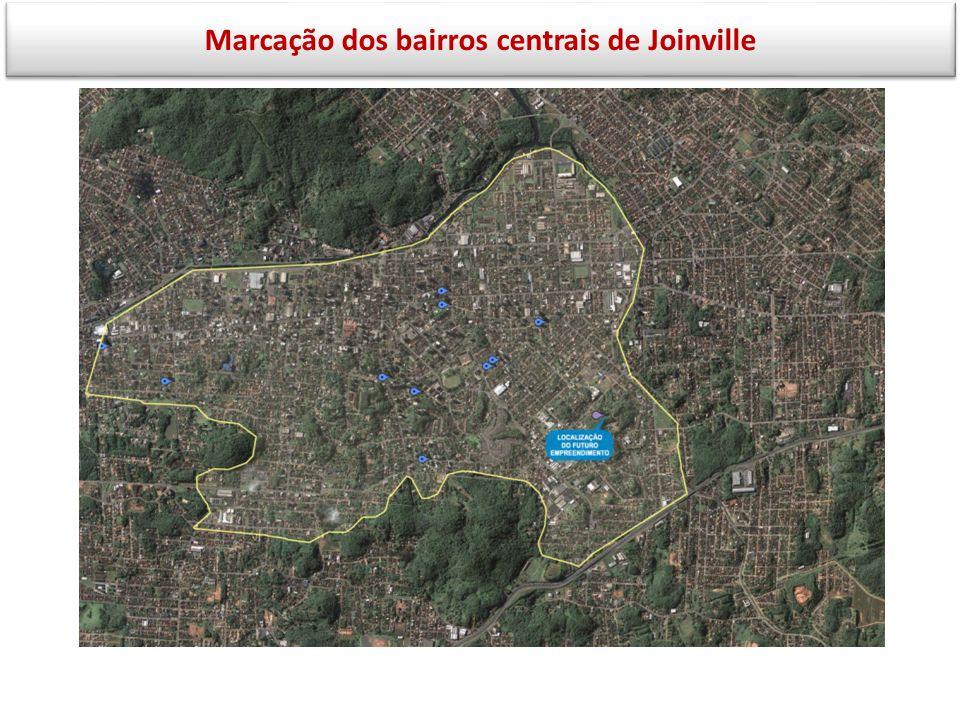 Marcação dos bairros centrais de Joinville
