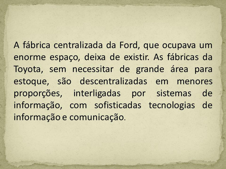 A fábrica centralizada da Ford, que ocupava um enorme espaço, deixa de existir. As fábricas da Toyota, sem necessitar de grande área para estoque, são