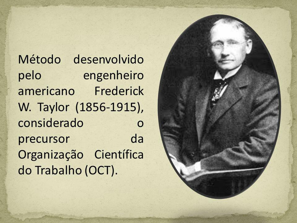 Método desenvolvido pelo engenheiro americano Frederick W. Taylor (1856-1915), considerado o precursor da Organização Científica do Trabalho (OCT).
