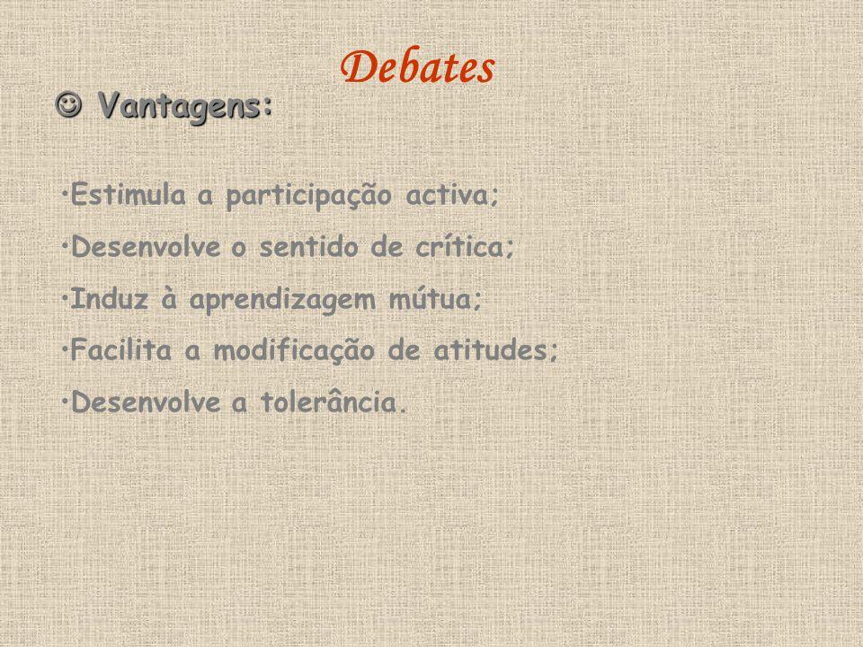 Vantagens: Vantagens: Estimula a participação activa; Desenvolve o sentido de crítica; Induz à aprendizagem mútua; Facilita a modificação de atitudes;