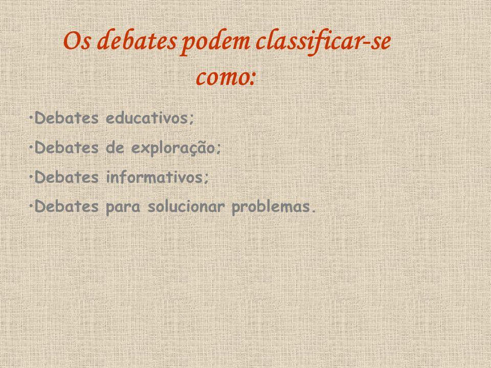 Os debates podem classificar-se como: Debates educativos; Debates de exploração; Debates informativos; Debates para solucionar problemas.