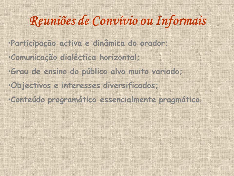 Participação activa e dinâmica do orador; Comunicação dialéctica horizontal; Grau de ensino do público alvo muito variado; Objectivos e interesses diversificados; Conteúdo programático essencialmente pragmático.