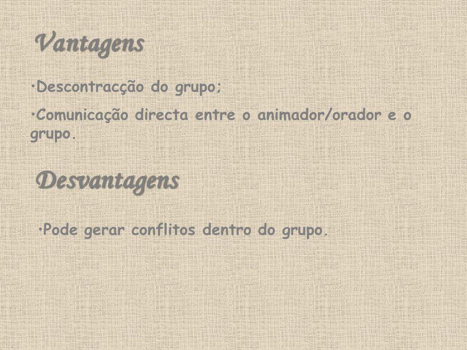 Vantagens Descontracção do grupo; Comunicação directa entre o animador/orador e o grupo.