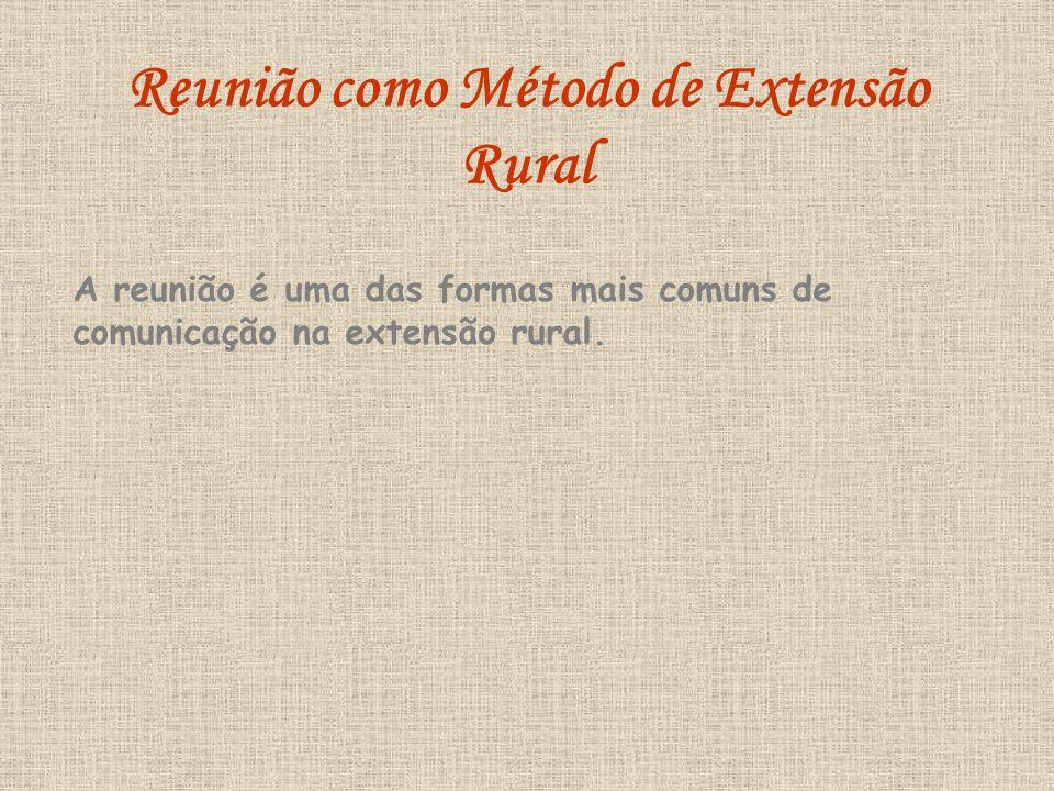 A reunião é uma das formas mais comuns de comunicação na extensão rural. Reunião como Método de Extensão Rural
