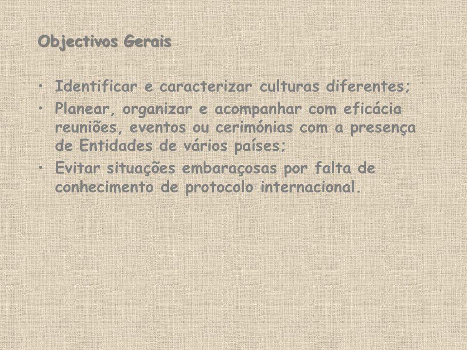 Objectivos Gerais Identificar e caracterizar culturas diferentes; Planear, organizar e acompanhar com eficácia reuniões, eventos ou cerimónias com a p