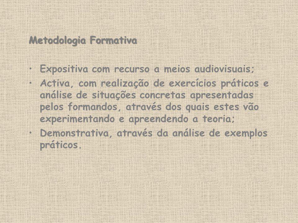Metodologia Formativa Expositiva com recurso a meios audiovisuais; Activa, com realização de exercícios práticos e análise de situações concretas apre