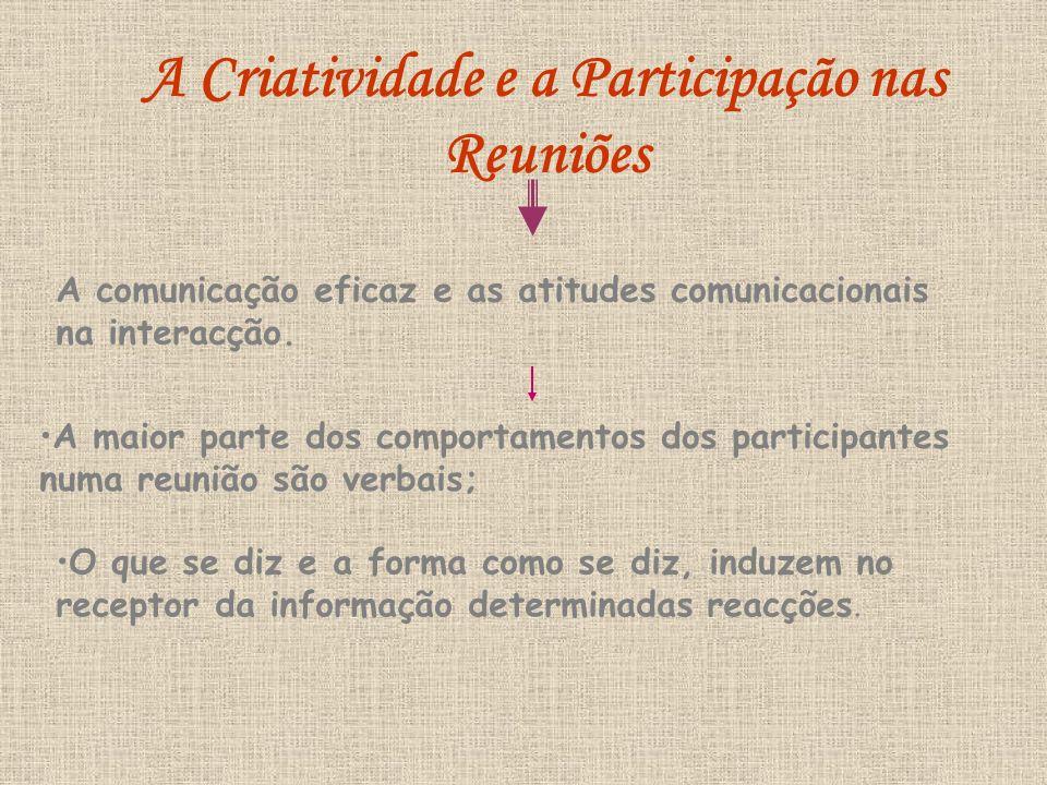 A Criatividade e a Participação nas Reuniões A comunicação eficaz e as atitudes comunicacionais na interacção. A maior parte dos comportamentos dos pa