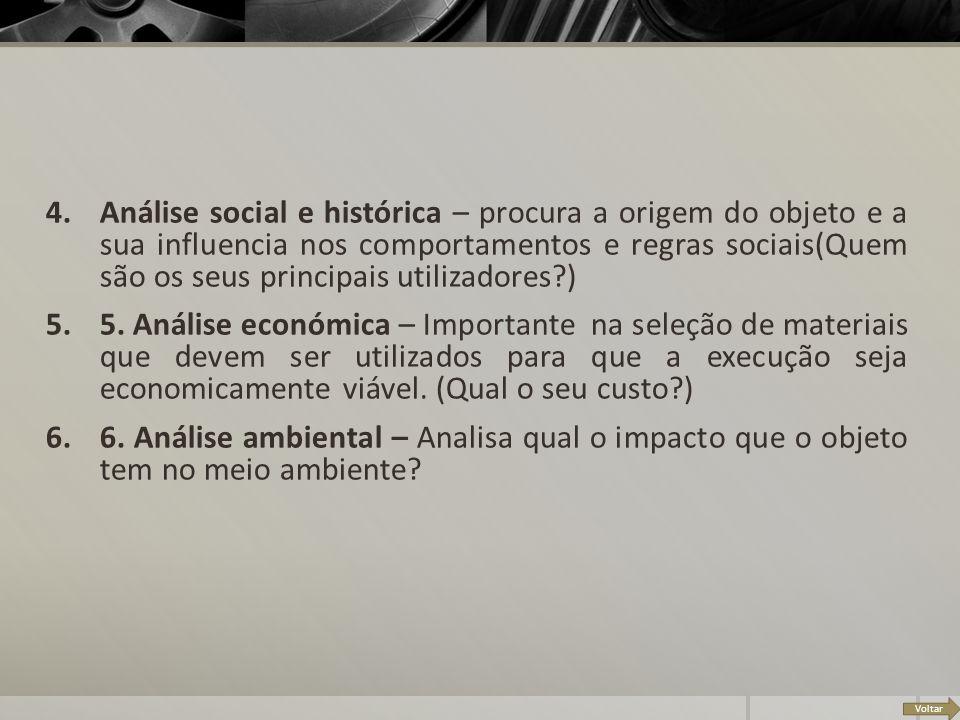 Voltar 4.Análise social e histórica – procura a origem do objeto e a sua influencia nos comportamentos e regras sociais(Quem são os seus principais ut