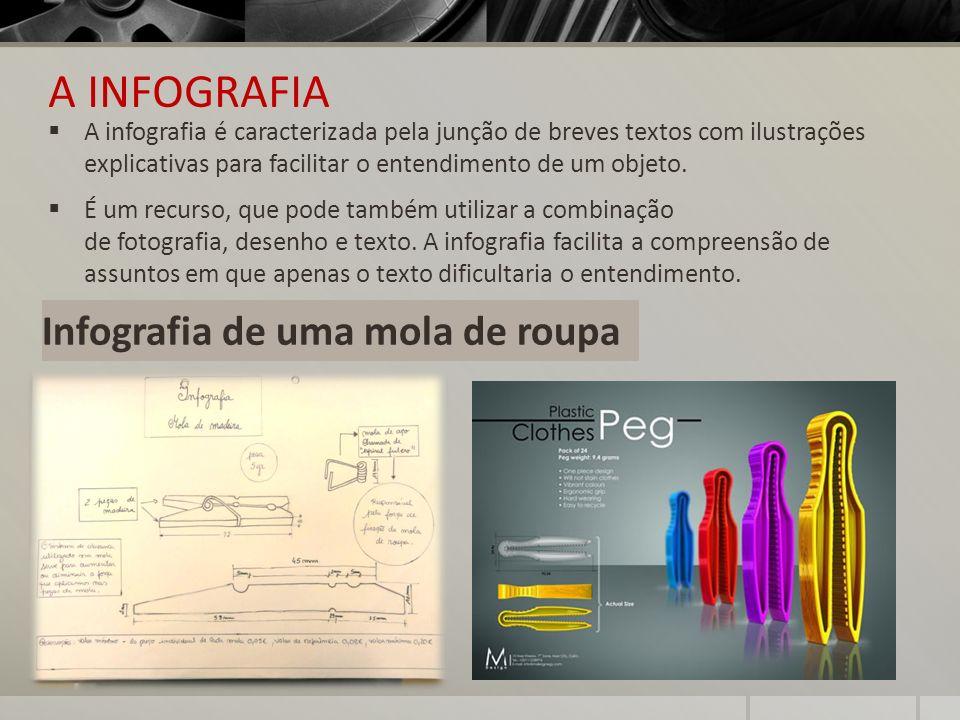 A INFOGRAFIA A infografia é caracterizada pela junção de breves textos com ilustrações explicativas para facilitar o entendimento de um objeto. É um r
