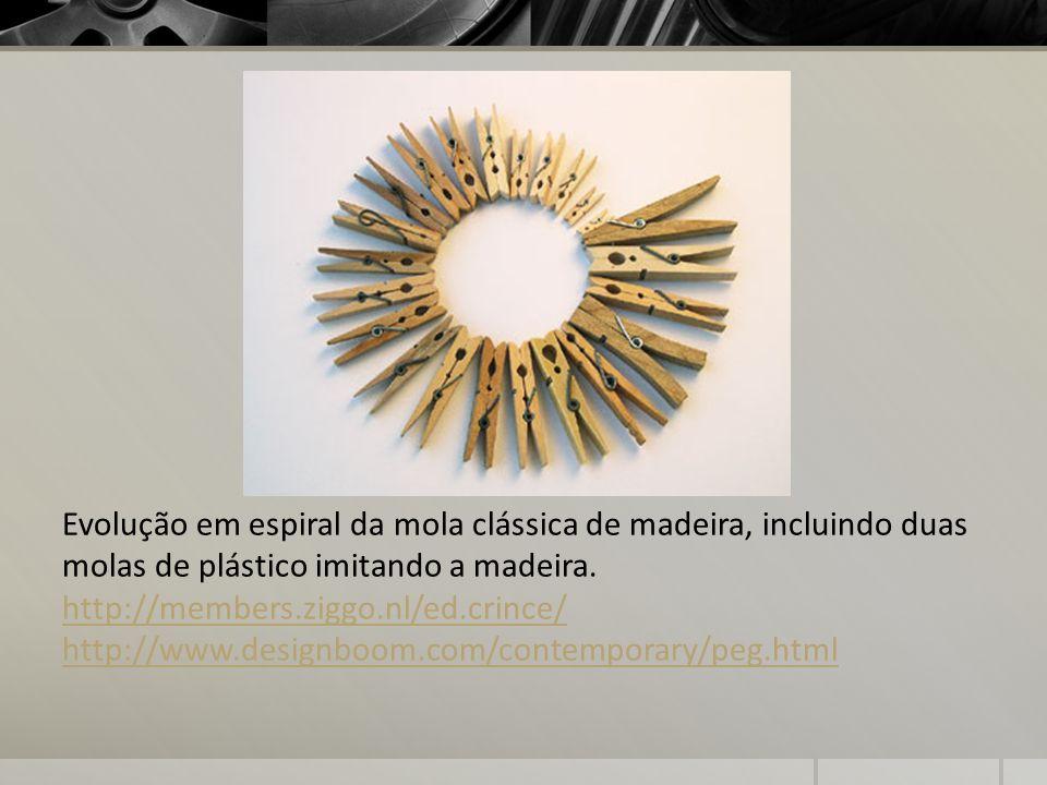 Evolução em espiral da mola clássica de madeira, incluindo duas molas de plástico imitando a madeira. http://members.ziggo.nl/ed.crince/ http://www.de