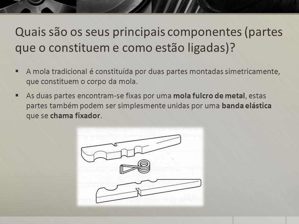 Quais são os seus principais componentes (partes que o constituem e como estão ligadas)? A mola tradicional é constituída por duas partes montadas sim