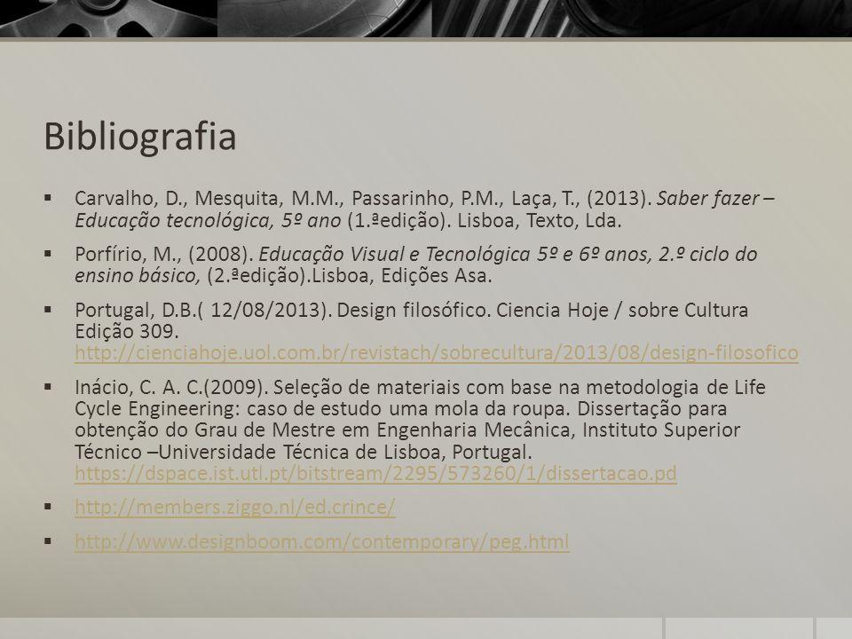 Bibliografia Carvalho, D., Mesquita, M.M., Passarinho, P.M., Laça, T., (2013). Saber fazer – Educação tecnológica, 5º ano (1.ªedição). Lisboa, Texto,