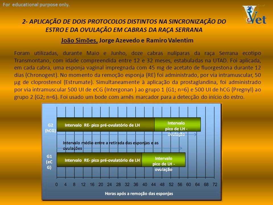 For educational purpose only. 2- APLICAÇÃO DE DOIS PROTOCOLOS DISTINTOS NA SINCRONIZAÇÃO DO ESTRO E DA OVULAÇÃO EM CABRAS DA RAÇA SERRANA João Simões,