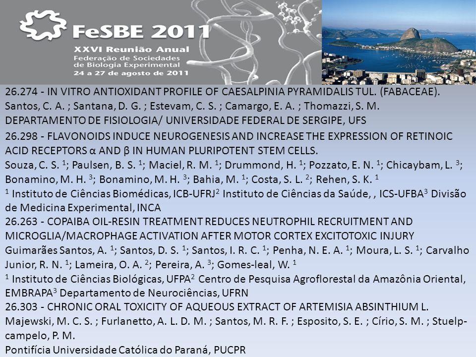 26.274 - IN VITRO ANTIOXIDANT PROFILE OF CAESALPINIA PYRAMIDALIS TUL. (FABACEAE). Santos, C. A. ; Santana, D. G. ; Estevam, C. S. ; Camargo, E. A. ; T