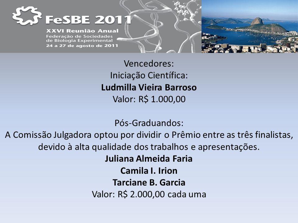 Vencedores: Iniciação Científica: Ludmilla Vieira Barroso Valor: R$ 1.000,00 Pós-Graduandos: A Comissão Julgadora optou por dividir o Prêmio entre as