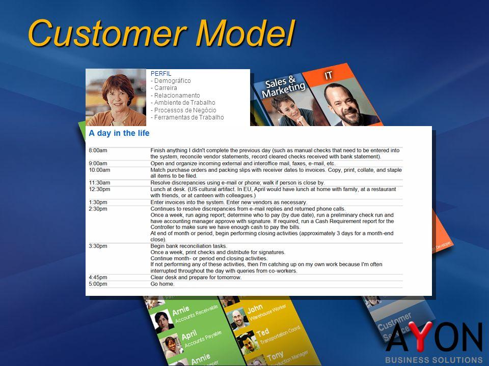 Customer Model PERFIL - Demográfico - Carreira - Relacionamento - Ambiente de Trabalho - Processos de Negócio - Ferramentas de Trabalho...