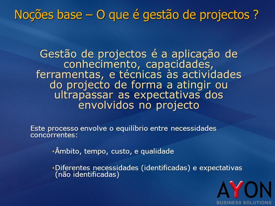 Noções base – O que é gestão de projectos .