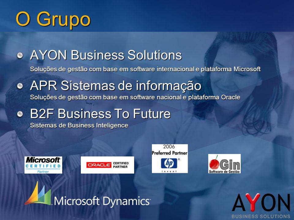 O Grupo AYON Business Solutions Soluções de gestão com base em software internacional e plataforma Microsoft APR Sistemas de informação Soluções de gestão com base em software nacional e plataforma Oracle B2F Business To Future Sistemas de Business Inteligence