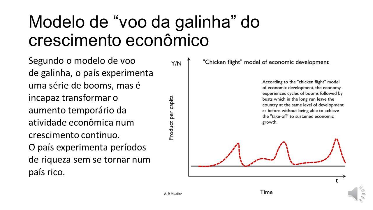 Modelo de voo da galinha do crescimento econômico Segundo o modelo de voo de galinha, o país experimenta uma série de booms, mas é incapaz transformar o aumento temporário da atividade econômica num crescimento continuo.