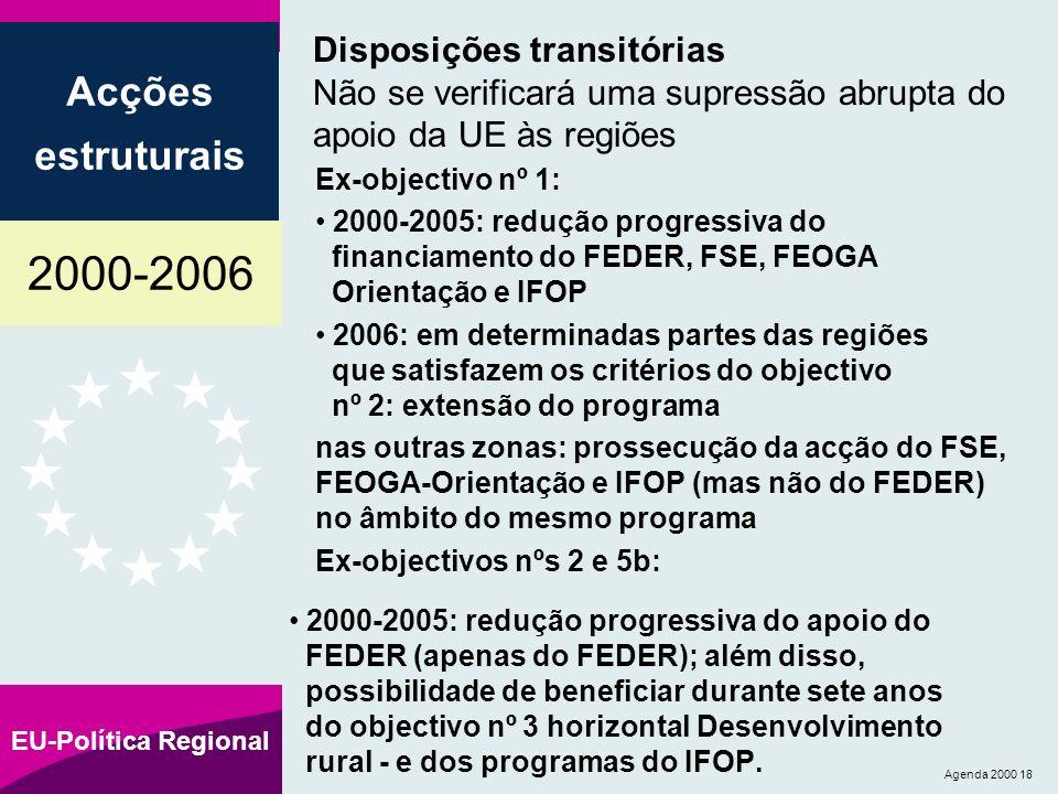 2000-2006 Acções estruturais EU-Política Regional Agenda 2000 18 Disposições transitórias Não se verificará uma supressão abrupta do apoio da UE às regiões Ex-objectivo nº 1: 2000-2005: redução progressiva do financiamento do FEDER, FSE, FEOGA Orientação e IFOP 2006: em determinadas partes das regiões que satisfazem os critérios do objectivo nº 2: extensão do programa nas outras zonas: prossecução da acção do FSE, FEOGA-Orientação e IFOP (mas não do FEDER) no âmbito do mesmo programa Ex-objectivos nºs 2 e 5b: 2000-2005: redução progressiva do apoio do FEDER (apenas do FEDER); além disso, possibilidade de beneficiar durante sete anos do objectivo nº 3 horizontal Desenvolvimento rural - e dos programas do IFOP.