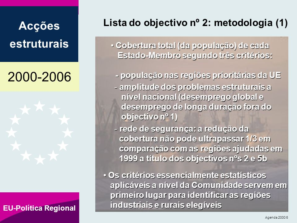 2000-2006 Acções estruturais EU-Política Regional Agenda 2000 6 Lista do objectivo nº 2: metodologia (1) Cobertura total (da população) de cada Estado-Membro segundo três critérios: - população nas regiões prioritárias da UE Cobertura total (da população) de cada Estado-Membro segundo três critérios: - população nas regiões prioritárias da UE - amplitude dos problemas estruturais a nível nacional (desemprego global e desemprego de longa duração fora do objectivo nº 1) - rede de segurança: a redução da cobertura não pode ultrapassar 1/3 em comparação com as regiões ajudadas em 1999 a título dos objectivos nºs 2 e 5b Os critérios essencialmente estatísticos aplicáveis a nível da Comunidade servem em primeiro lugar para identificar as regiões industriais e rurais elegíveis Os critérios essencialmente estatísticos aplicáveis a nível da Comunidade servem em primeiro lugar para identificar as regiões industriais e rurais elegíveis