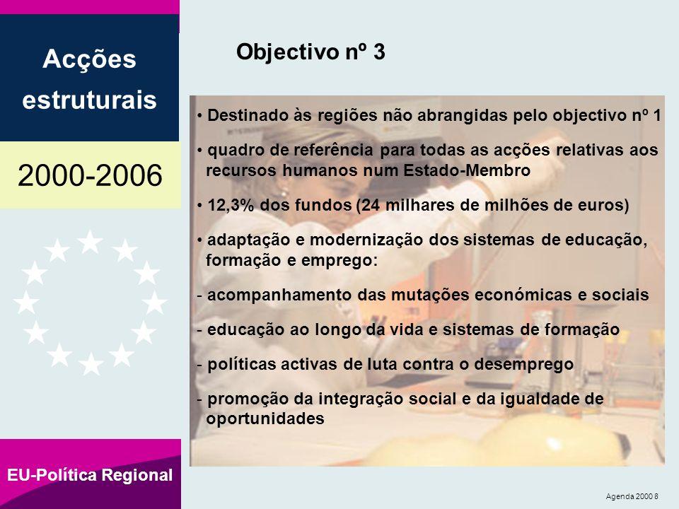 2000-2006 Acções estruturais EU-Política Regional Agenda 2000 8 Objectivo nº 3 Destinado às regiões não abrangidas pelo objectivo nº 1 quadro de referência para todas as acções relativas aos recursos humanos num Estado-Membro 12,3% dos fundos (24 milhares de milhões de euros) adaptação e modernização dos sistemas de educação, formação e emprego: - acompanhamento das mutações económicas e sociais - educação ao longo da vida e sistemas de formação - políticas activas de luta contra o desemprego - promoção da integração social e da igualdade de oportunidades