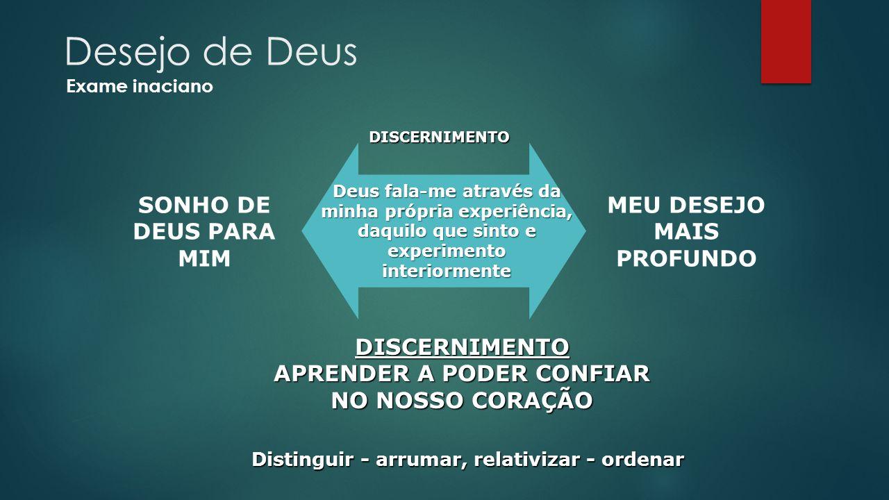 DISCERNIMENTO MEU DESEJO MAIS PROFUNDO SONHO DE DEUS PARA MIM Distinguir - arrumar, relativizar - ordenar Deus fala-me através da minha própria experi