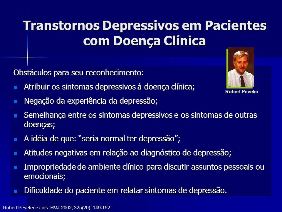 Transtornos Depressivos em Pacientes com Doença Clínica Obstáculos para seu reconhecimento: Atribuir os sintomas depressivos à doença clínica; Atribuir os sintomas depressivos à doença clínica; Negação da experiência da depressão; Negação da experiência da depressão; Semelhança entre os sintomas depressivos e os sintomas de outras doenças; Semelhança entre os sintomas depressivos e os sintomas de outras doenças; A idéia de que: seria normal ter depressão; A idéia de que: seria normal ter depressão; Atitudes negativas em relação ao diagnóstico de depressão; Atitudes negativas em relação ao diagnóstico de depressão; Impropriedade de ambiente clínico para discutir assuntos pessoais ou emocionais; Impropriedade de ambiente clínico para discutir assuntos pessoais ou emocionais; Dificuldade do paciente em relatar sintomas de depressão.