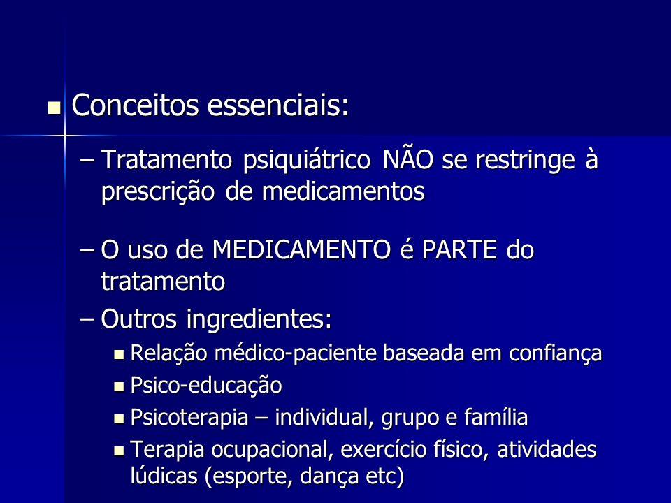 Conceitos essenciais: Conceitos essenciais: –Tratamento psiquiátrico NÃO se restringe à prescrição de medicamentos –O uso de MEDICAMENTO é PARTE do tr