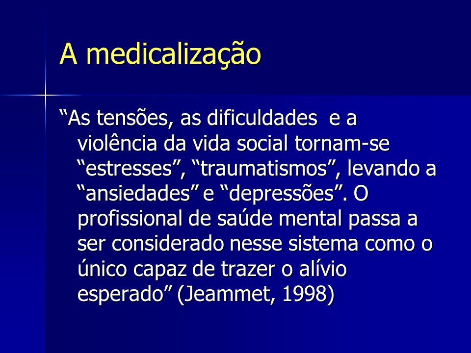 A medicalização As tensões, as dificuldades e a violência da vida social tornam-se estresses, traumatismos, levando a ansiedades e depressões. O profi