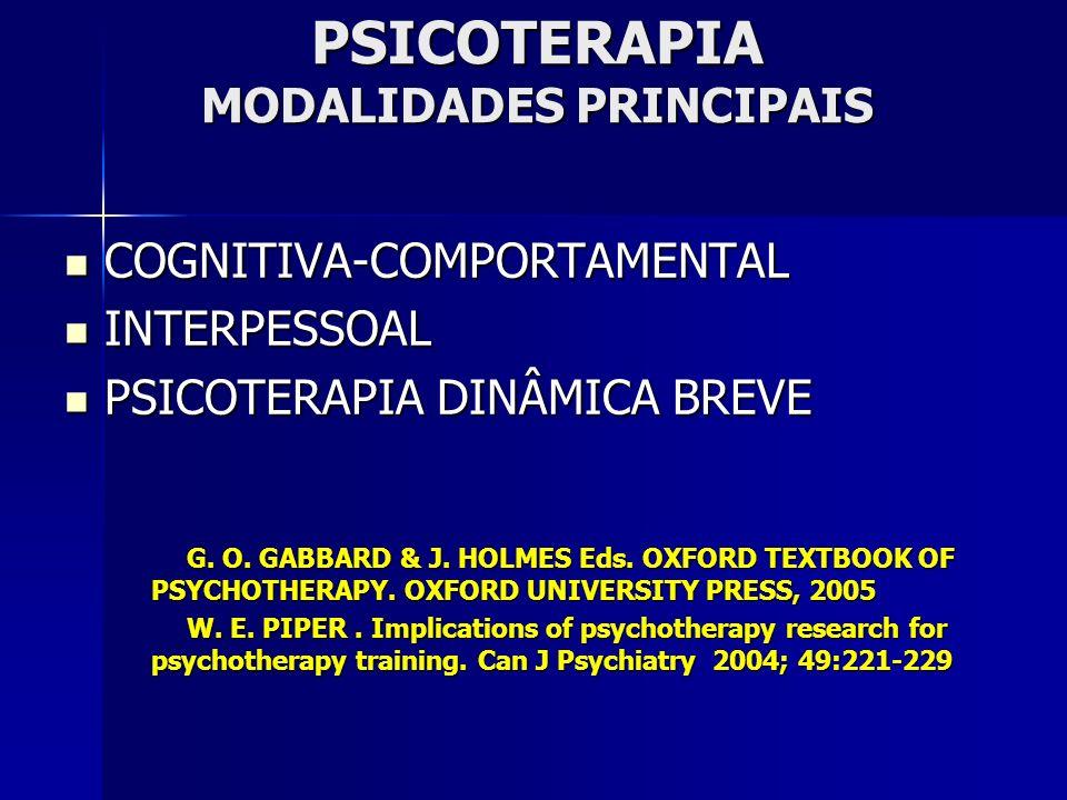 PSICOTERAPIA MODALIDADES PRINCIPAIS COGNITIVA-COMPORTAMENTAL COGNITIVA-COMPORTAMENTAL INTERPESSOAL INTERPESSOAL PSICOTERAPIA DINÂMICA BREVE PSICOTERAPIA DINÂMICA BREVE G.