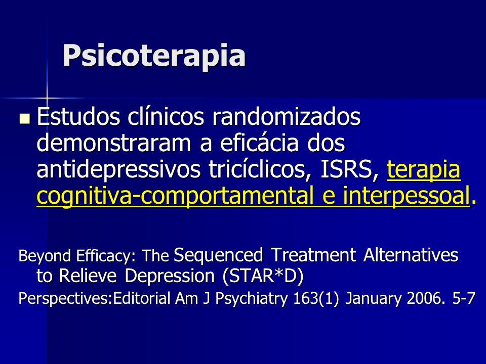 Psicoterapia Estudos clínicos randomizados demonstraram a eficácia dos antidepressivos tricíclicos, ISRS, terapia cognitiva-comportamental e interpess