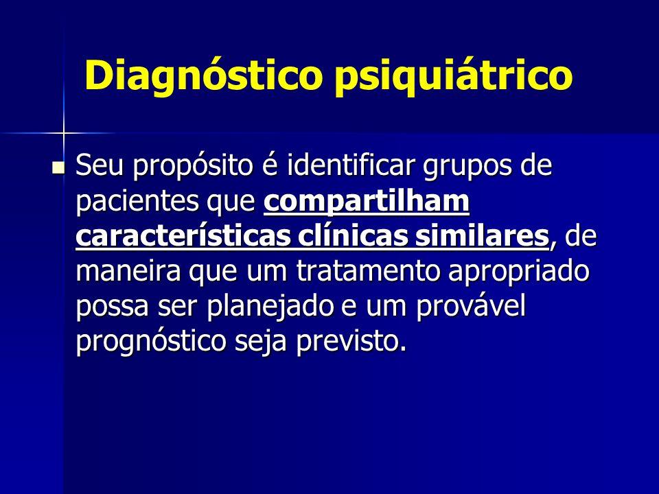 Diagnóstico psiquiátrico Seu propósito é identificar grupos de pacientes que compartilham características clínicas similares, de maneira que um tratamento apropriado possa ser planejado e um provável prognóstico seja previsto.