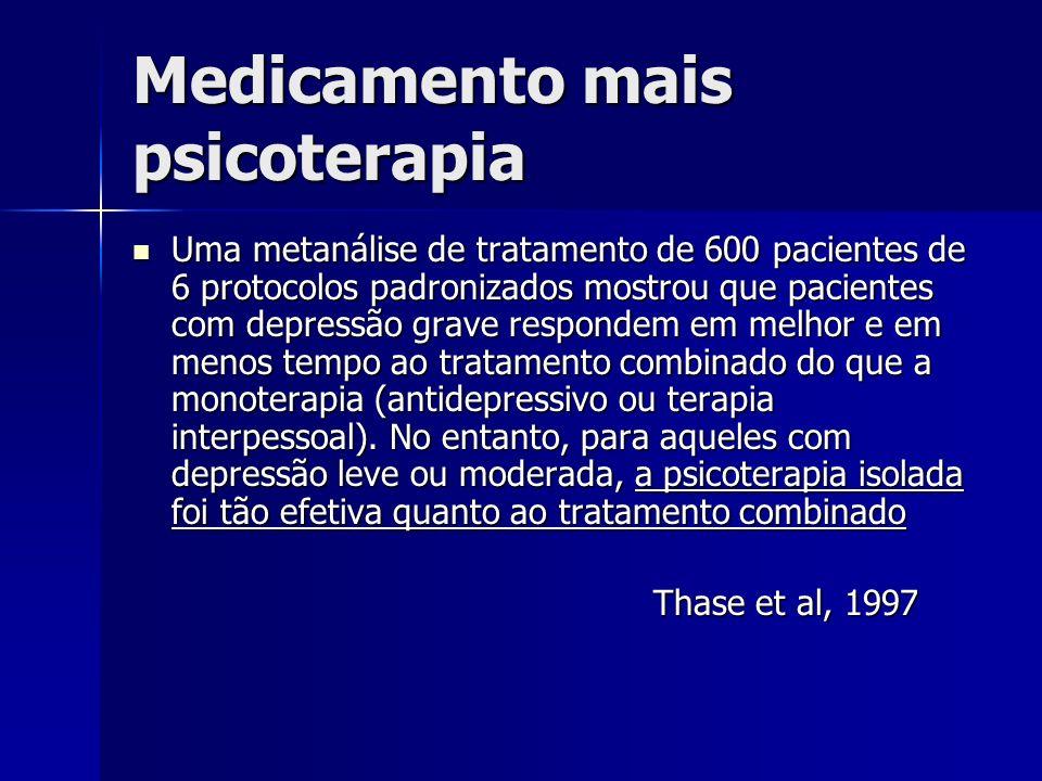 Medicamento mais psicoterapia Uma metanálise de tratamento de 600 pacientes de 6 protocolos padronizados mostrou que pacientes com depressão grave respondem em melhor e em menos tempo ao tratamento combinado do que a monoterapia (antidepressivo ou terapia interpessoal).
