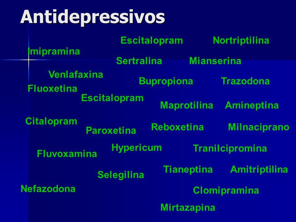 Antidepressivos Imipramina Fluvoxamina Venlafaxina Maprotilina Nefazodona Tranilcipromina Tianeptina Amineptina Mirtazapina Sertralina Citalopram Nort