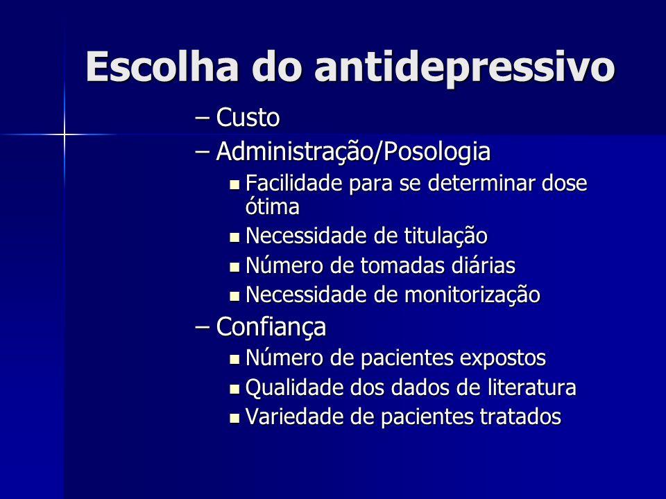Escolha do antidepressivo –Custo –Administração/Posologia Facilidade para se determinar dose ótima Facilidade para se determinar dose ótima Necessidad