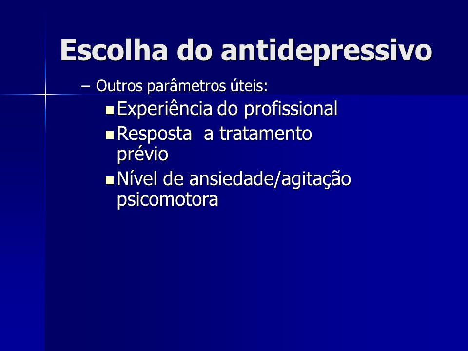 Escolha do antidepressivo –Outros parâmetros úteis: Experiência do profissional Experiência do profissional Resposta a tratamento prévio Resposta a tratamento prévio Nível de ansiedade/agitação psicomotora Nível de ansiedade/agitação psicomotora