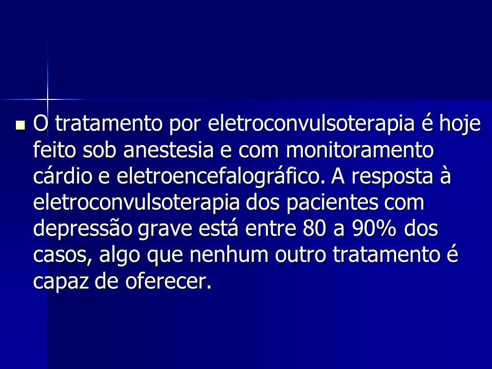 O tratamento por eletroconvulsoterapia é hoje feito sob anestesia e com monitoramento cárdio e eletroencefalográfico. A resposta à eletroconvulsoterap