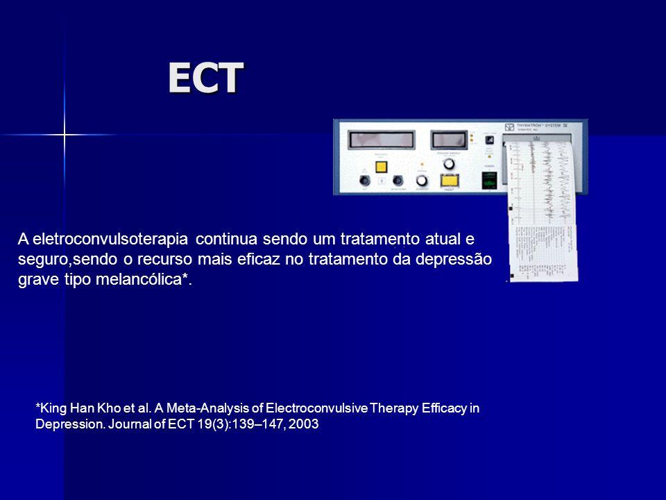 ECT A eletroconvulsoterapia continua sendo um tratamento atual e seguro,sendo o recurso mais eficaz no tratamento da depressão grave tipo melancólica*.
