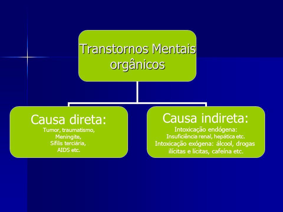 Transtornos Mentais orgânicos Causa direta: Tumor, traumatismo, Meningite, Sífilis terciária, AIDS etc. Causa indireta: Intoxicação endógena: Insufici