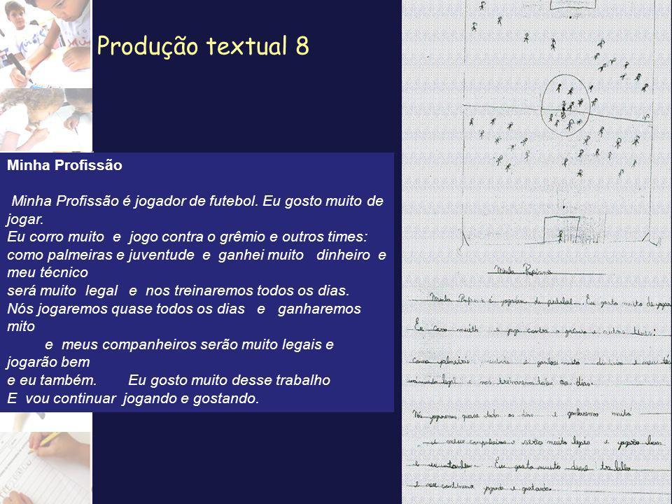 Produção textual 8 Minha Profissão Minha Profissão é jogador de futebol. Eu gosto muito de jogar. Eu corro muito e jogo contra o grêmio e outros times
